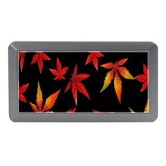 Colorful Autumn Leaves On Black Background Memory Card Reader (mini)