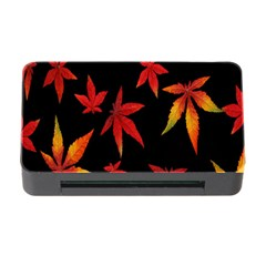 Colorful Autumn Leaves On Black Background Memory Card Reader with CF