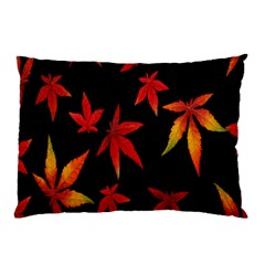 Colorful Autumn Leaves On Black Background Pillow Case (two Sides)