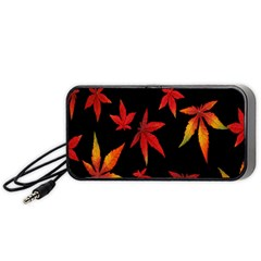 Colorful Autumn Leaves On Black Background Portable Speaker (black)