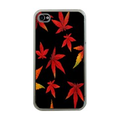 Colorful Autumn Leaves On Black Background Apple Iphone 4 Case (clear)