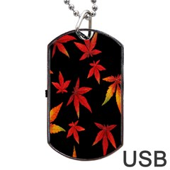 Colorful Autumn Leaves On Black Background Dog Tag Usb Flash (one Side)