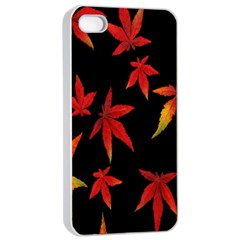 Colorful Autumn Leaves On Black Background Apple iPhone 4/4s Seamless Case (White)