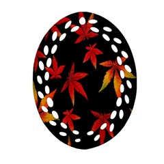 Colorful Autumn Leaves On Black Background Ornament (oval Filigree)