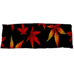 Colorful Autumn Leaves On Black Background Body Pillow Case (Dakimakura)