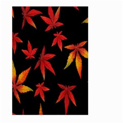 Colorful Autumn Leaves On Black Background Large Garden Flag (Two Sides)