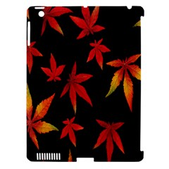 Colorful Autumn Leaves On Black Background Apple Ipad 3/4 Hardshell Case (compatible With Smart Cover)