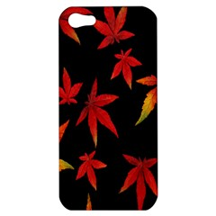 Colorful Autumn Leaves On Black Background Apple iPhone 5 Hardshell Case