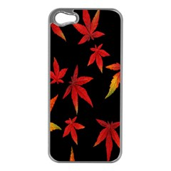 Colorful Autumn Leaves On Black Background Apple Iphone 5 Case (silver)