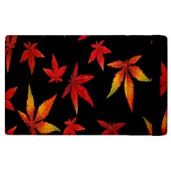 Colorful Autumn Leaves On Black Background Apple Ipad 2 Flip Case