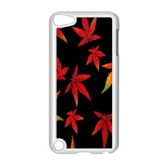 Colorful Autumn Leaves On Black Background Apple Ipod Touch 5 Case (white)