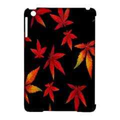 Colorful Autumn Leaves On Black Background Apple Ipad Mini Hardshell Case (compatible With Smart Cover)