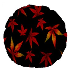 Colorful Autumn Leaves On Black Background Large 18  Premium Round Cushions