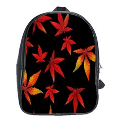 Colorful Autumn Leaves On Black Background School Bags (XL)