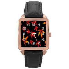 Colorful Autumn Leaves On Black Background Rose Gold Leather Watch