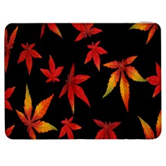 Colorful Autumn Leaves On Black Background Samsung Galaxy Tab 7  P1000 Flip Case