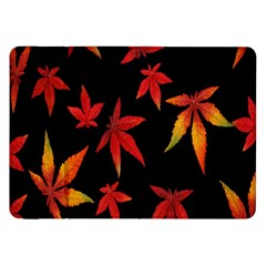 Colorful Autumn Leaves On Black Background Samsung Galaxy Tab 8 9  P7300 Flip Case