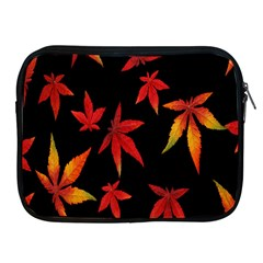 Colorful Autumn Leaves On Black Background Apple Ipad 2/3/4 Zipper Cases
