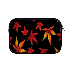 Colorful Autumn Leaves On Black Background Apple Ipad Mini Zipper Cases
