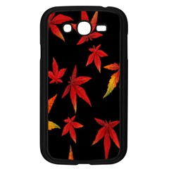 Colorful Autumn Leaves On Black Background Samsung Galaxy Grand Duos I9082 Case (black)