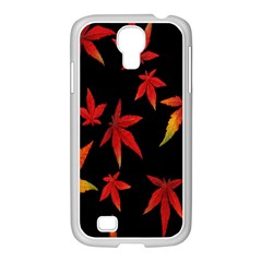 Colorful Autumn Leaves On Black Background Samsung GALAXY S4 I9500/ I9505 Case (White)