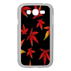 Colorful Autumn Leaves On Black Background Samsung Galaxy Grand Duos I9082 Case (white)