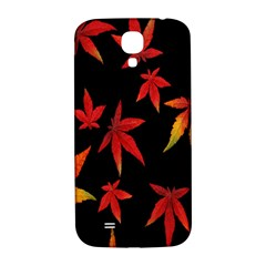 Colorful Autumn Leaves On Black Background Samsung Galaxy S4 I9500/i9505  Hardshell Back Case