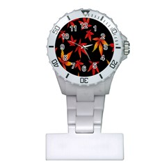 Colorful Autumn Leaves On Black Background Plastic Nurses Watch