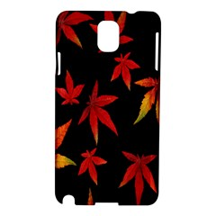 Colorful Autumn Leaves On Black Background Samsung Galaxy Note 3 N9005 Hardshell Case