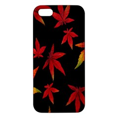 Colorful Autumn Leaves On Black Background Iphone 5s/ Se Premium Hardshell Case