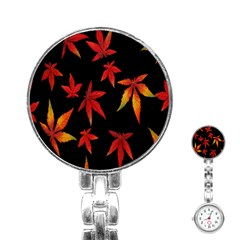 Colorful Autumn Leaves On Black Background Stainless Steel Nurses Watch