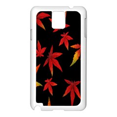 Colorful Autumn Leaves On Black Background Samsung Galaxy Note 3 N9005 Case (white)