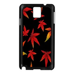 Colorful Autumn Leaves On Black Background Samsung Galaxy Note 3 N9005 Case (black)