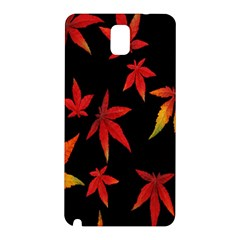 Colorful Autumn Leaves On Black Background Samsung Galaxy Note 3 N9005 Hardshell Back Case