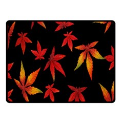 Colorful Autumn Leaves On Black Background Double Sided Fleece Blanket (small)