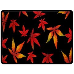 Colorful Autumn Leaves On Black Background Double Sided Fleece Blanket (large)