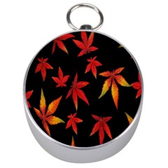 Colorful Autumn Leaves On Black Background Silver Compasses