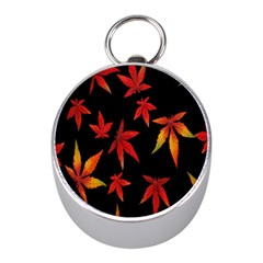 Colorful Autumn Leaves On Black Background Mini Silver Compasses
