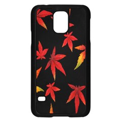Colorful Autumn Leaves On Black Background Samsung Galaxy S5 Case (black)