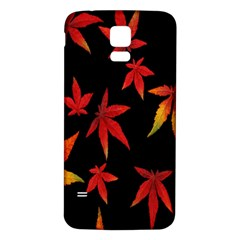 Colorful Autumn Leaves On Black Background Samsung Galaxy S5 Back Case (white)