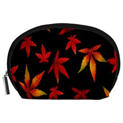 Colorful Autumn Leaves On Black Background Accessory Pouches (large)