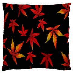 Colorful Autumn Leaves On Black Background Large Flano Cushion Case (two Sides)
