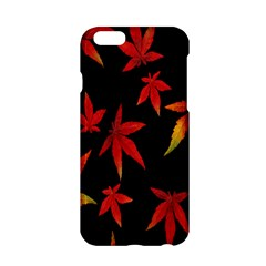 Colorful Autumn Leaves On Black Background Apple Iphone 6/6s Hardshell Case