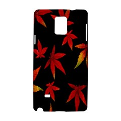 Colorful Autumn Leaves On Black Background Samsung Galaxy Note 4 Hardshell Case