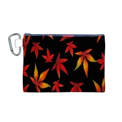Colorful Autumn Leaves On Black Background Canvas Cosmetic Bag (m)