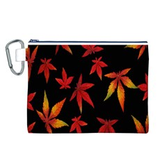 Colorful Autumn Leaves On Black Background Canvas Cosmetic Bag (l)