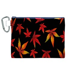 Colorful Autumn Leaves On Black Background Canvas Cosmetic Bag (XL)