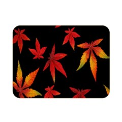 Colorful Autumn Leaves On Black Background Double Sided Flano Blanket (mini)