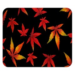 Colorful Autumn Leaves On Black Background Double Sided Flano Blanket (small)