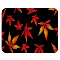 Colorful Autumn Leaves On Black Background Double Sided Flano Blanket (medium)